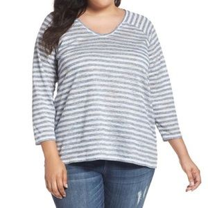 Two by Vince Camuto White Blue Sheer Striped Top